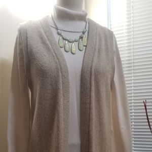 Long Sleeveless Knit Duster Vest